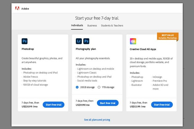 selecting the subscription type