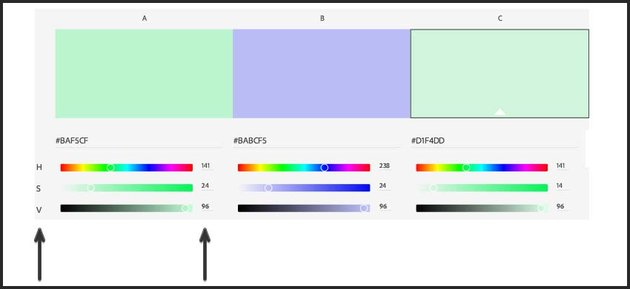 hue and value settings of the color