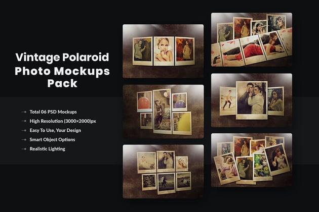 Polaroid Image Template Vintage Photo Mockups Pack