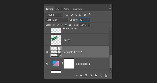 Changing the blending mode and the opacity of the grid shape