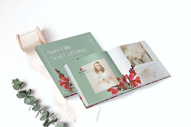 vintage floral wedding photobook