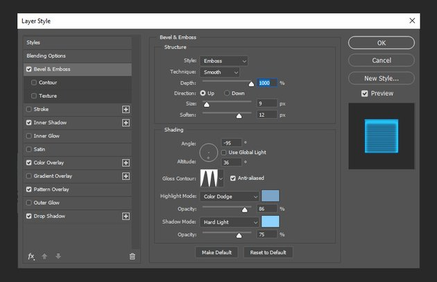 adding bevel and emboss settings to layer style