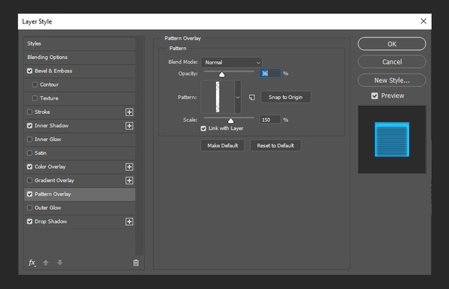 adding pattern overlay to the layer style