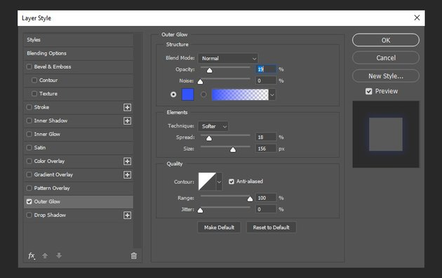 creating outer glow layer style