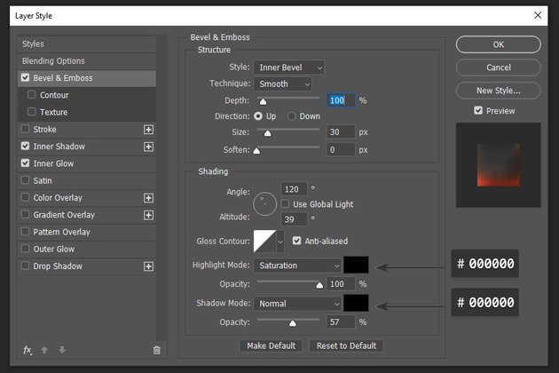 adding bevel and emboss layer style settings