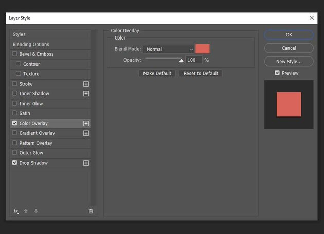 adding a color overlay to the layers