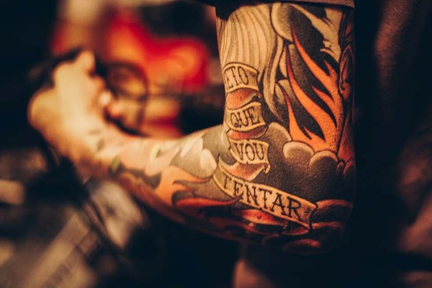 old school lettering tattoos elements