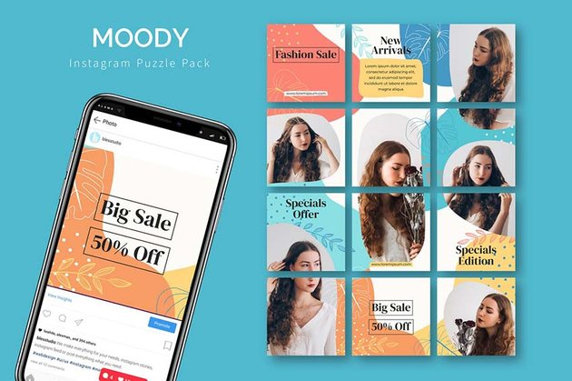 moody instagram puzzle template