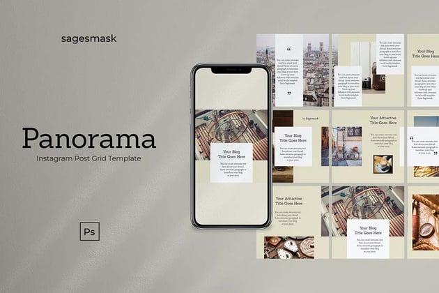 Panorama Instagram Post Grid Template
