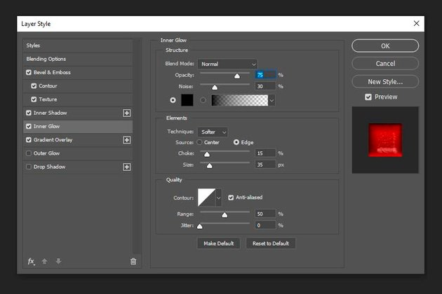 Adding inner glow layer style