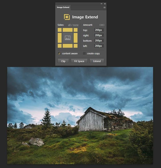 setting up the extend image addon