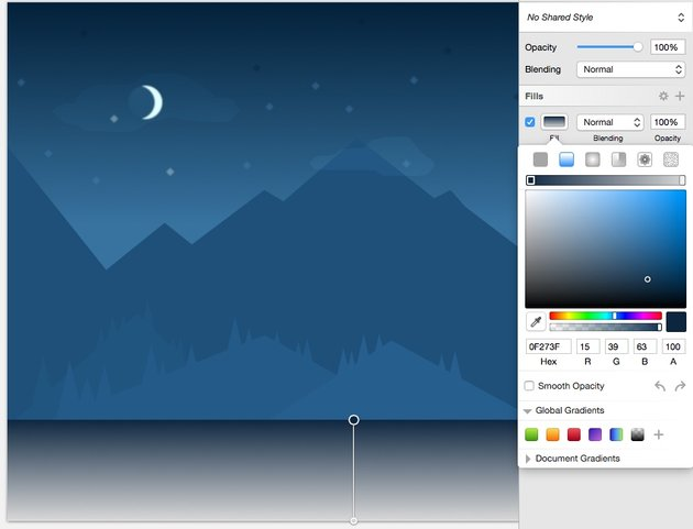 River - gradient top color