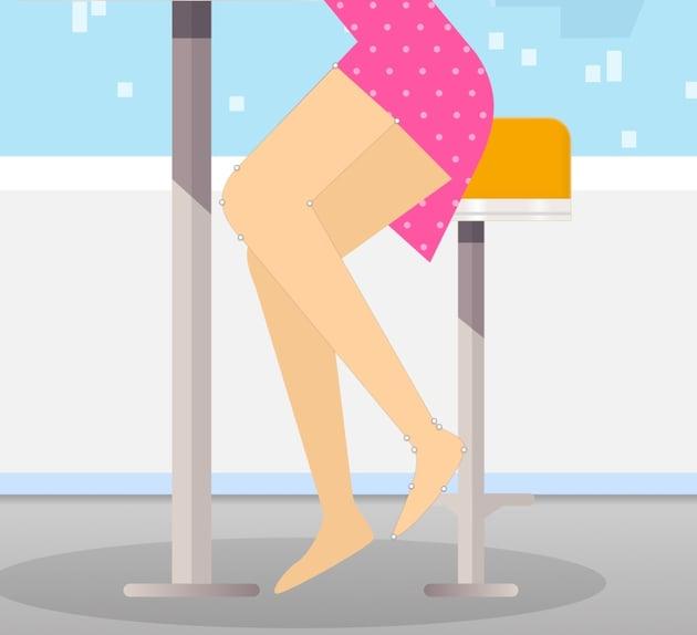 Girl crossed leg shape