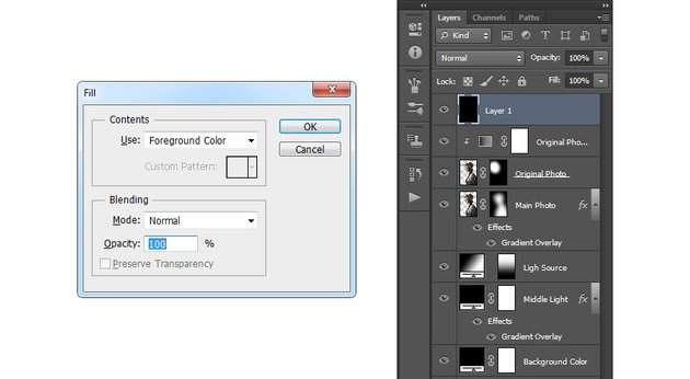 Creating new layer and filling it with black color