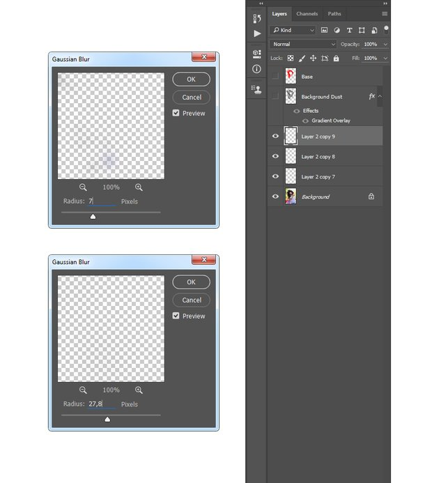 Adding gaussian blur filter to the particles layers