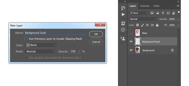 Creating new layer for the background dust