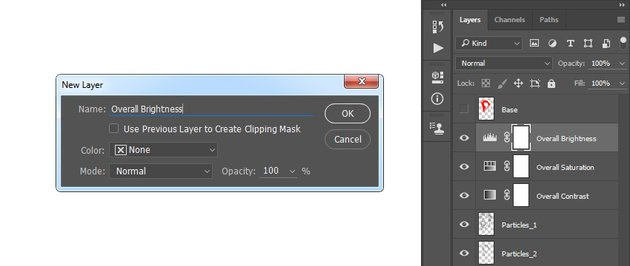 Creating the levels adjustment layer
