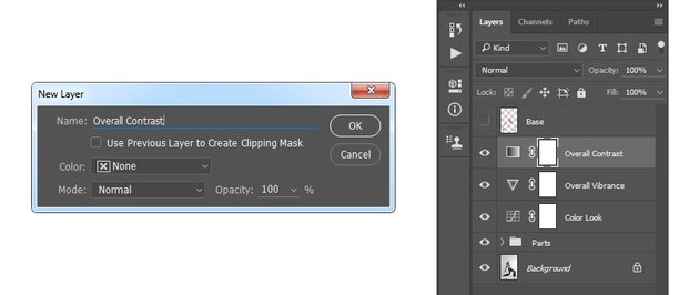 Creating new gradient map adjustment layer named Overall Contrast