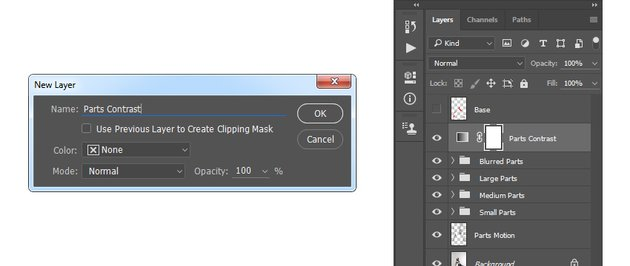 Creating new gradient map adjustment layer named Parts Contrast