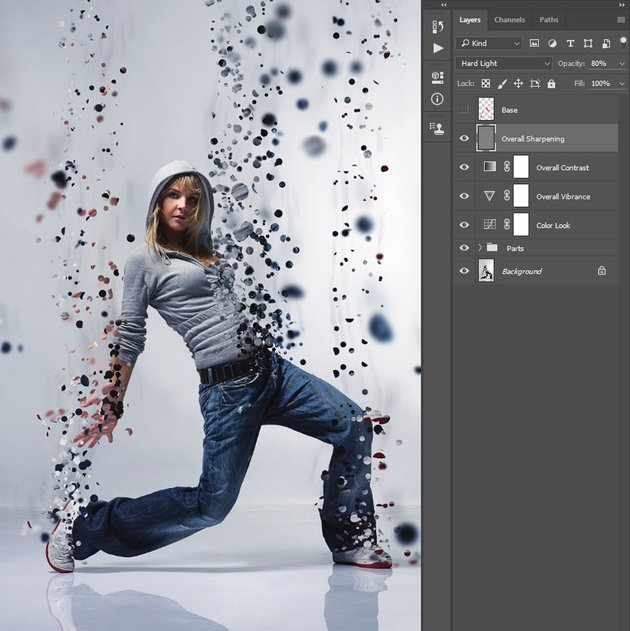 Renaming Layer 1 to Overall Sharpening and changing its blending mode and opacity
