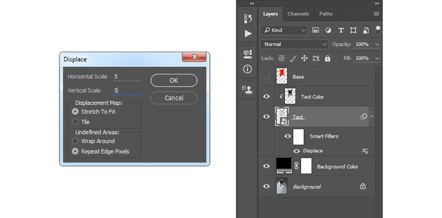 Adding displace filter to the Text layer