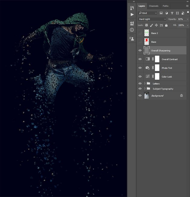 Changing name blending mode and opacity of Overall Sharpening layer