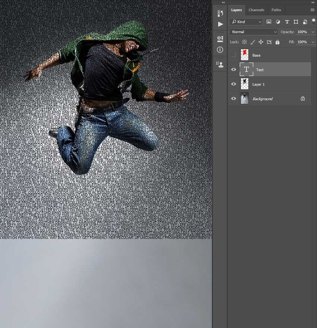 Dragging the text layer to photo document