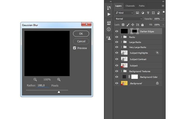 Adding filter gaussian blur to layer mask