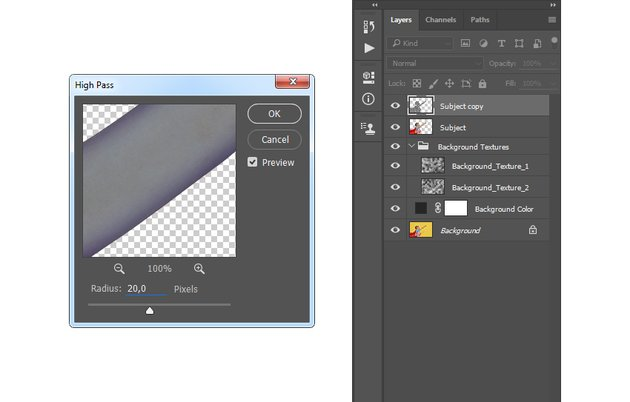 Adding filter other high pass to the Subject copy layer
