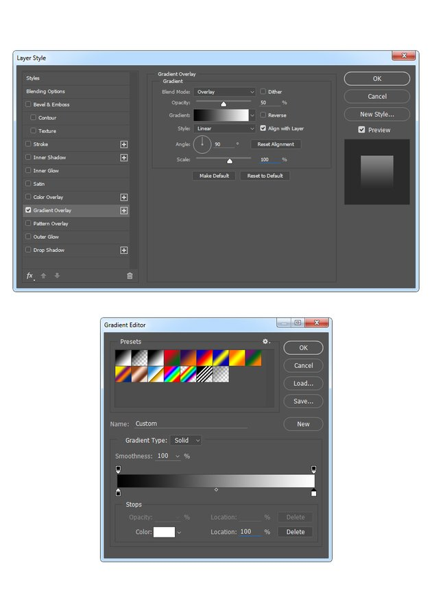 Adding gradient overlay style to Subject layer