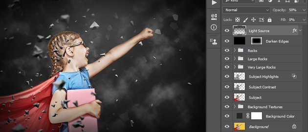 Changing opacity and fill of the Light Source layer