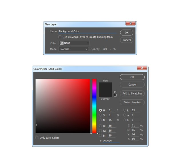 Creating a solid color fill layer named Background Color
