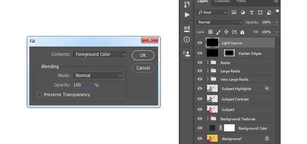 Filling the Light Source layer with foreground color