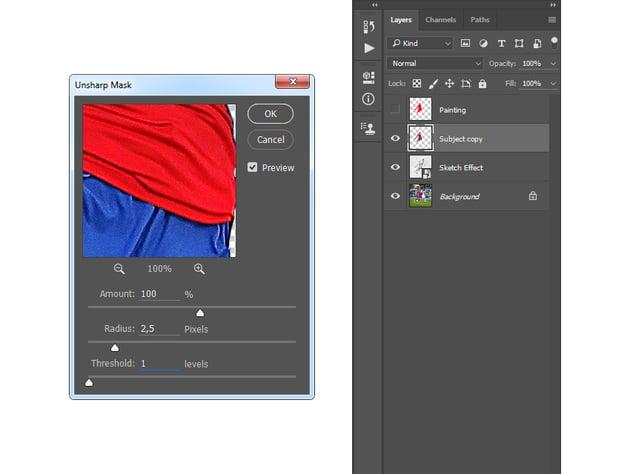 Adding unsharp mask filter