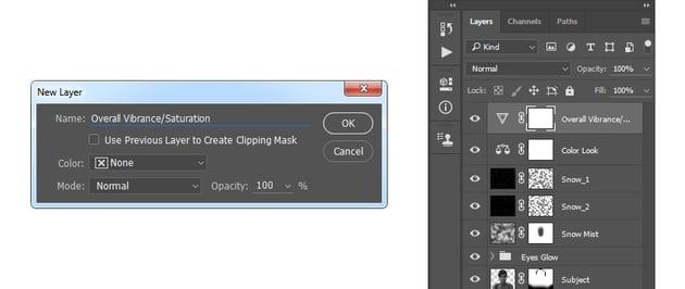 Creating new vibrancesaturation layer
