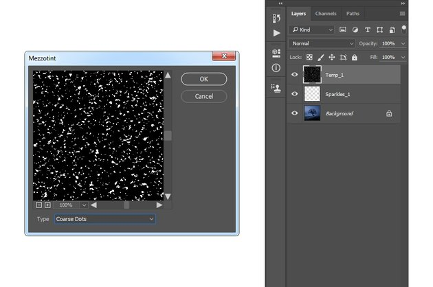 Adding mezzotint filter