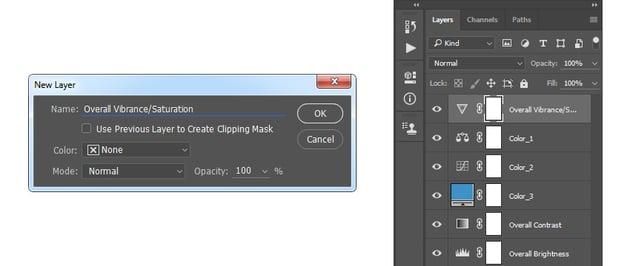 Creating new vibrance adjustment layer