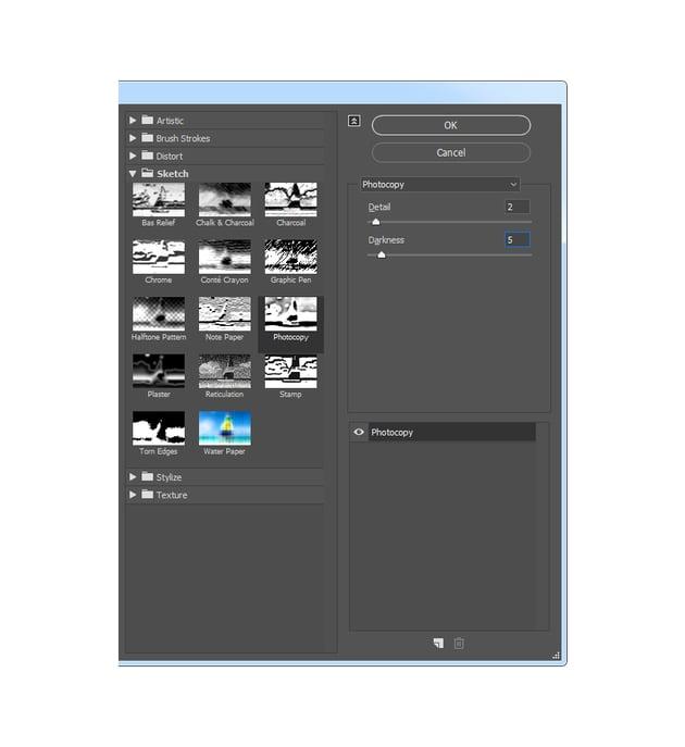 Adding photocopy filter
