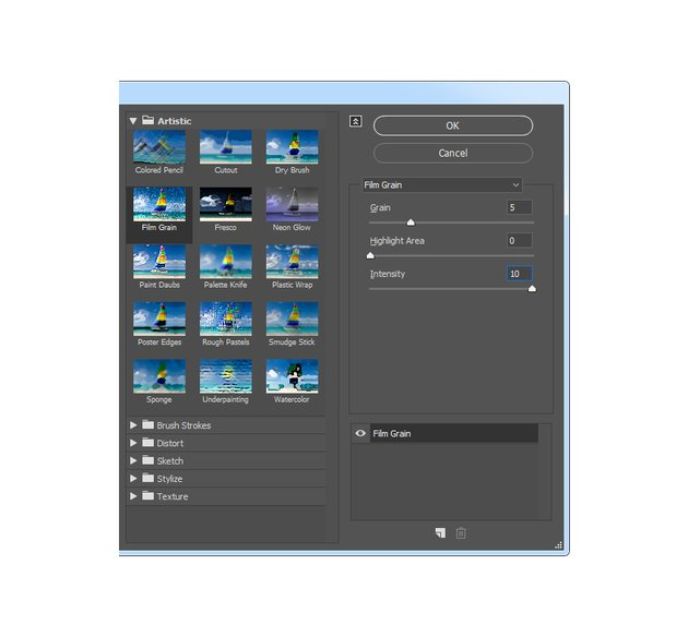 Adding film grain filter