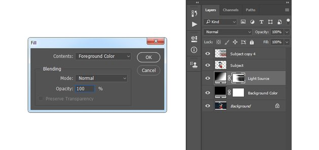 filling selection with foreground color