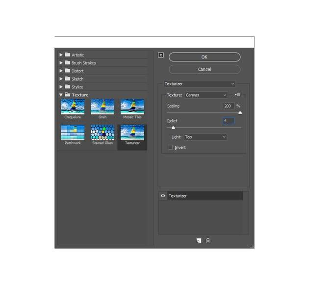 adding texturizer filter