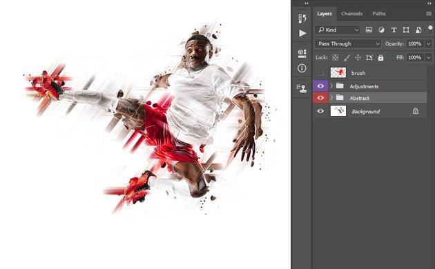 applying abstract photoshop action