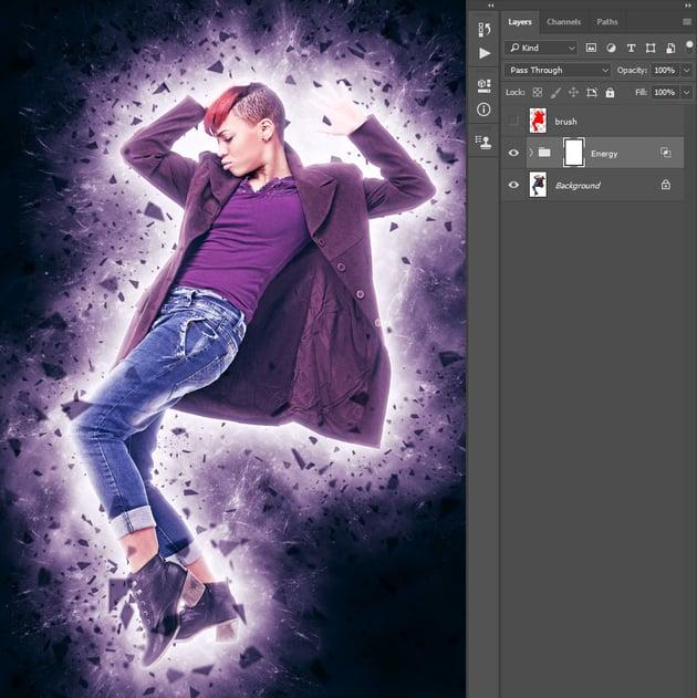 applying energy photoshop action