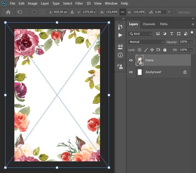 placing frame