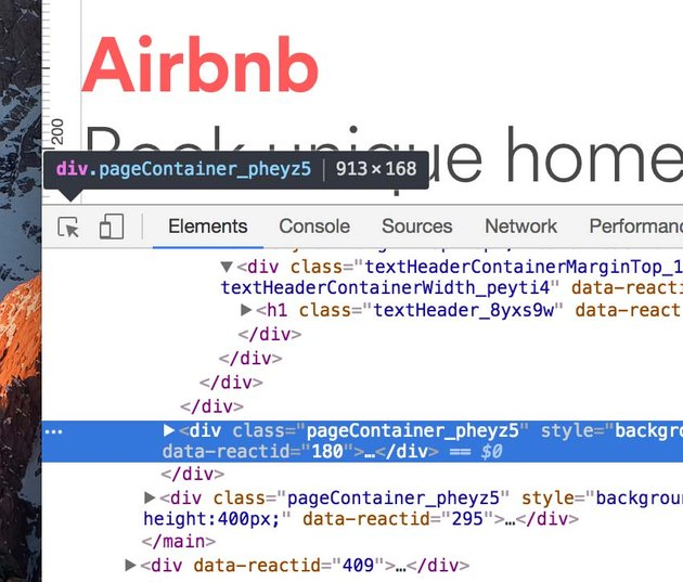 Airbnb look through the DevTools