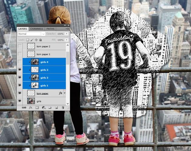 Sketch Paper Piece in Photoshop