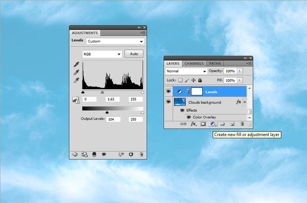 How to Make Clouds in Photoshop Tutorial Levels Adjustment in Photoshop