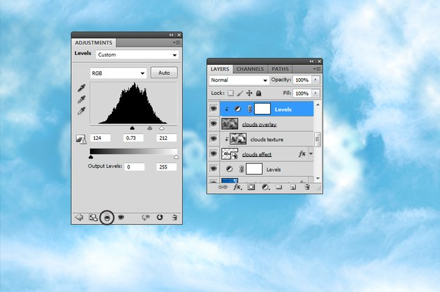 How to Create Clouds in Photoshop Tutorial Levels Adjustment in Photoshop
