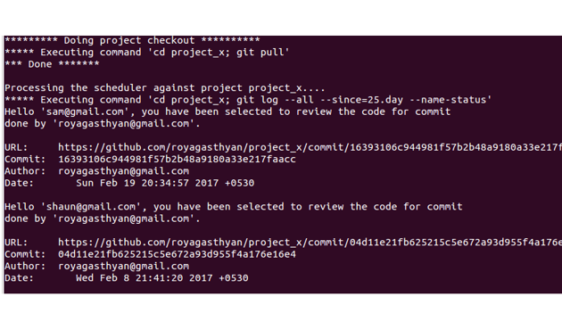 Code Review Scheduler Output