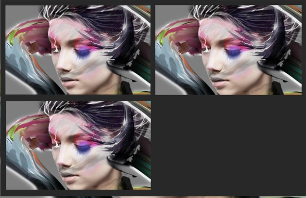 Detailing in the right eye with the brush and smudge tool